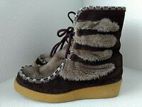 Snowland Vtg Brown Suede Leather Faux Fur Boots Sherpa Lined USA-made Womens 8