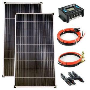 Solar Set 12V 2x130 Watt Poly Solarmodul Laderegler 20A Solarkabel Inselanlage