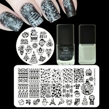 Black White Nail Art Stamping Polish & Christmas Stamp Stencil  Plates Kit Set