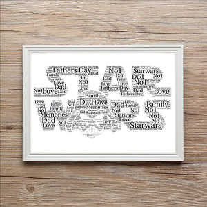 Star Wars Dad Daddy Personalised FATHERS DAY Word Art Print Gift BIRTHDAY