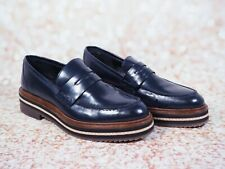 Massimo Dutti Navy, Brown & White Chunky Sole Loafers Shoes UK Size 4 EU 37