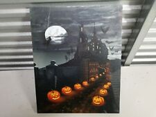 Scary halloween Art painting on canvas with witch pumpkin bats and dark castle