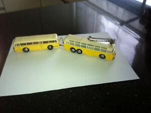 Eheim/Brawa 3 Achs Trolley Bus gelb/beige m. Hänger  sehr guter Zustand geprüft