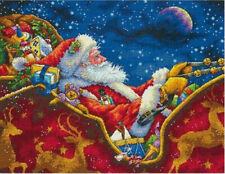 Dimensions Gold Santa's Midnight Ride Counted Cross Stitch kit 18ct 14x11in XMAS