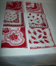 VINTAGE UNUSED LOT 6 RED WHITE HEARTS VALENTINE-ISH  FLOWERS FLORAL HANKIE CLEAN