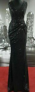 STUNNING SIZE 8 ALL OVER BLACK SEQUIN SEXY V NECK DRESS ORIGINALLY £100