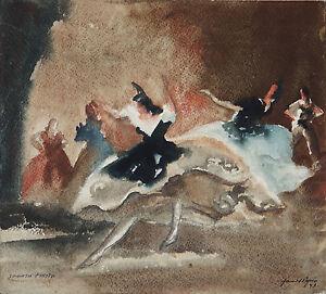 HAROLD BYRNE (1899-1966) RARE Original Watercolour Spanish Dancers Ballet 1935