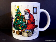 White Christmas Mug w/ Santa & Girl w/ kitty & Tree 10 oz FREE SHIPPING