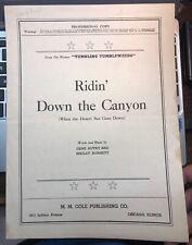 1936 Tumbling Tumbleweeds Gene Autry Advance Artist Sheet Music