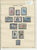 France 1961 MM+Used Stamps On 2 Pages  Ref: R6500