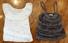 Abercrombie & Fitch A & F Kid Girls Sz S Pair Of Lace Ruffle Tops Camis Gray Whi
