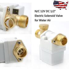 Electric Solenoid Valve for Water Air Low Viscosity Fluids N/C 12V DC 1/2