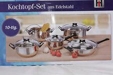 Kochtopfset Edelstahl mit Deckel 10tlg für Gas Elektro Herd