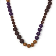 """JOAN RIVERS Gold Plated Beads Purple Brown Beads Chunky Statement Necklace 41"""""""