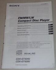 Betriebsanleitung Sony Autoradio CDX-GT424U / CDX-GT420U Stand 2007