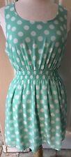 Forever 21 Green & White Polka Dot Sleeveless Short Dress Women's Size L