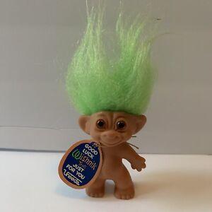 Uneeda Good Luck Wishnik Troll Doll with Hang Tag Green Hair