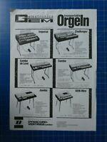 Dynacord transportable Orgeln  Werbung Faltblatt H-13403