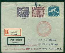SWEDEN 1936 Hindenburg North American flight, proper handstamp and cachet, VF