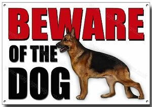 LGE A3 SIZE ALSATIAN BEWARE OF THE DOG METAL SIGN,SECURITY,WARNING,GUARD DOG