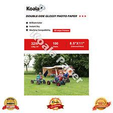 Koala 100 Sheets 8.5x11 Double Sided Glossy Inkjet Photo Paper Canon HP 120 gsm