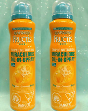 2 Garnier Fructis Triple Nutrition MIRACULOUS OIL IN SPRAY Dry Hair 4oz NEW RARE