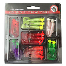 Fishing Lures Set Jig Lead Head Hooks Soft Worm Grub Single Tail Bait