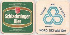 """Schladminger Bier - alter Bierdeckel """"Nordische Ski-WM 1997"""""""