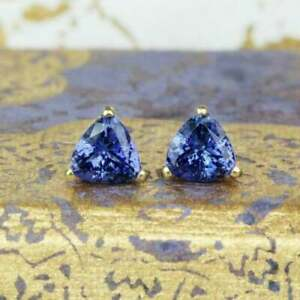 4Ct Trillion Cut Tanzanite Solitaire Stud Earrings In 14K Yellow Gold Finish