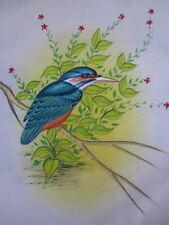 ORIGINAL HANDMADE MINIATURE PAINTING ON SILK -BEAUTIFUL COLORFUL BIRDS -UNFRAMED