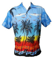 Hawaiian Shirt Mens Coconut Tree Print Beach Camp Party Aloha Beach Holiday Camp