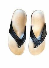 Spenco womens sparkly black thongs flip flops sz 8M orthodpedic sandals shoes