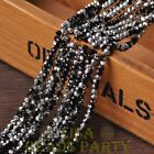 100pcs 4X3mm Crystal Glass Rondelle Faceted Loose Beads Black Half Silver