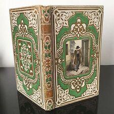 LIVRE ANCIEN RELIURE ROMANTIQUE Gaufré Chromo Mame Tours 1856 Romantic Book