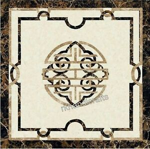 20 x 20 Inches Marble Coffee Table Top Inlay End Table Top with Pietra Dura Art
