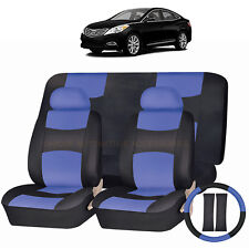 PU LEATHER BLUE & BLACK SEAT COVERS 11PC SET for HYUNDAI ELANTRA TUCSON