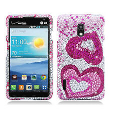 For LG Optimus F7 US780 Crystal Diamond BLING Hard Case Cover Pink Hearts