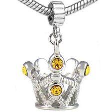 5 Pcs Yellow CZ Tiara Crown Silver European Charms Beads For Bracelet L#585