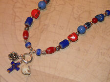 Day of the Dead Beaded Necklace Skull Beads Cross Pendant Rose Charm Red & Blue