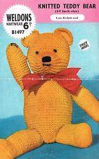 Teddy Bear knitting pattern.  Laminated copy.