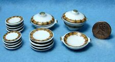 Dollhouse Miniature Dinner Plate Set with Servers 17 pcs ~ Yellow & Gold MT704