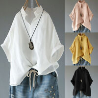 Womens Batwing Sleeve V-Neck Tee Baggy Blouse Casual White T Shirts Tops Summer