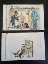 Lot de deux dessins originaux chats