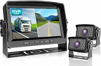 """Wired Backup Camera With 9"""" DVR Monitor System Kit Waterproof Rear View DY912"""
