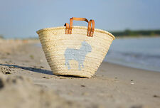 Sandori Ibiza Tasche Korbtasche Strandtasche Motiv Hund silbergrau