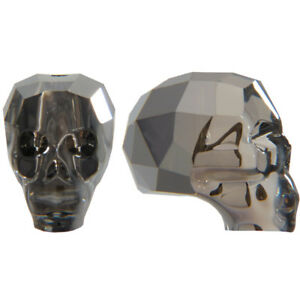 New  Skull Bead - Crystal Silver Night  2x