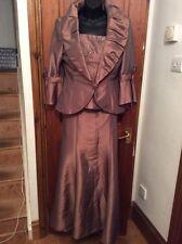 NUOVO con etichetta 3 PEZZI Bronzo Brown Designer Madre Della Sposa Vestito 14 RRP £ 380