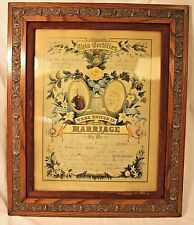 Genuine 1886 Framed Illinois Marriage Certificate by David W. Crider; Beautiful!