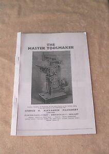 Alexander 'Master Toolmaker' Milling Machine Manual