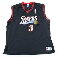 Vintage Allen Iverson #3 Champion Philadelphia 76ers Jersey Size 52 2XL 90s NBA